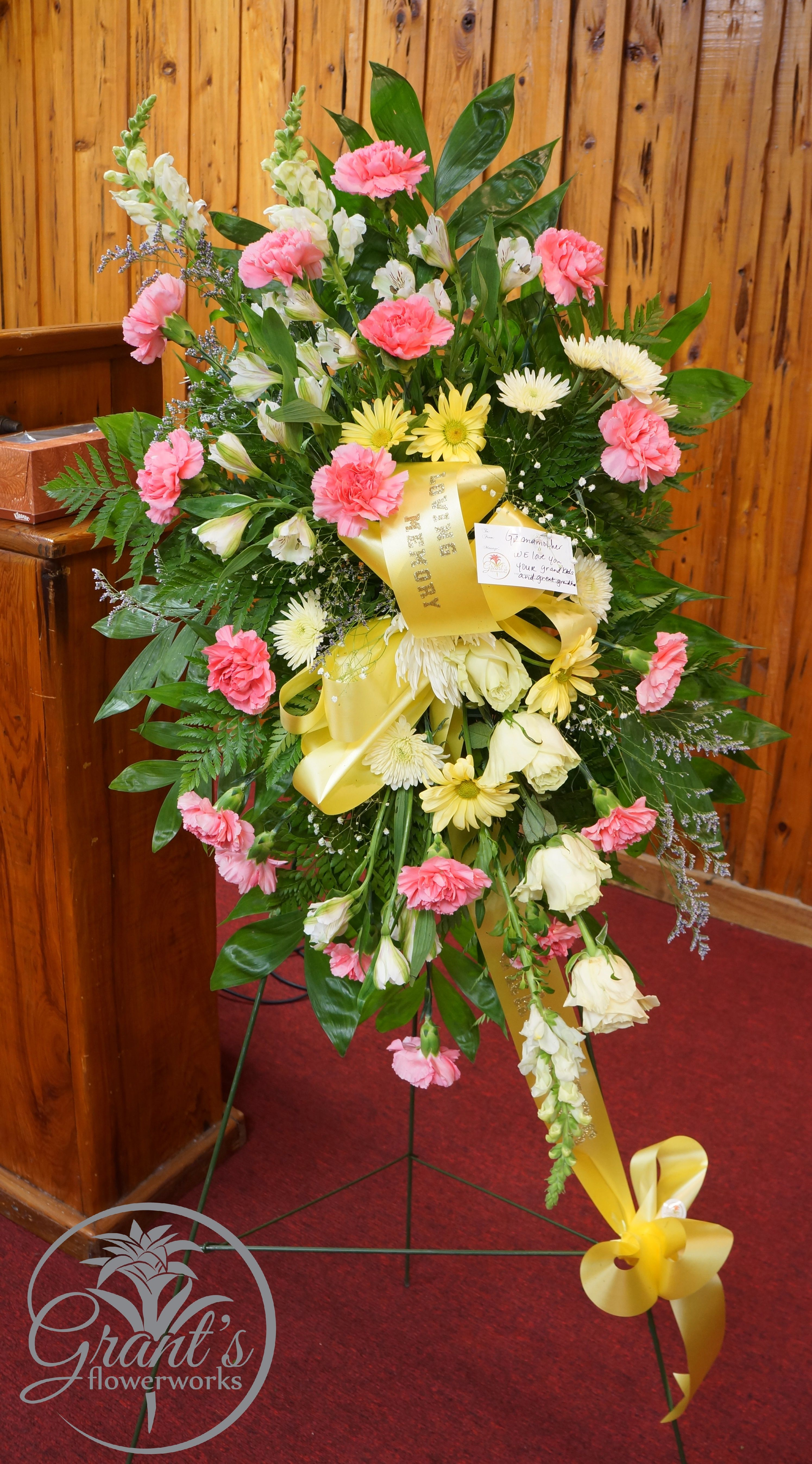 Standing Spray by Grant's Flowerworks Sympathy floral