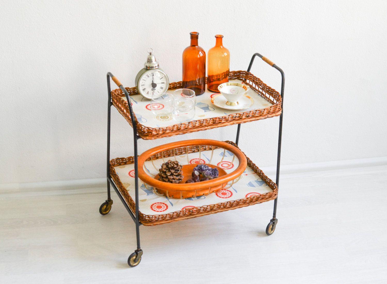 rattan barwagen teewagen servierwagen 60er bartisch 60er jahre m bel ref 465 by. Black Bedroom Furniture Sets. Home Design Ideas