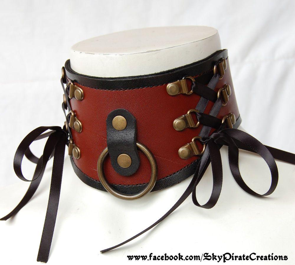 Fab find Steampunk Bondage Grunddel Leather Neck Corset Posture Collar Halskorsett #Handmade #Brown #collar