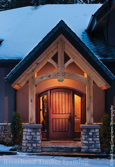 Craftsman Front Doors Craftsman Porch Facade House: Riverbed TImber Framing: Exterior Entry (With Images)