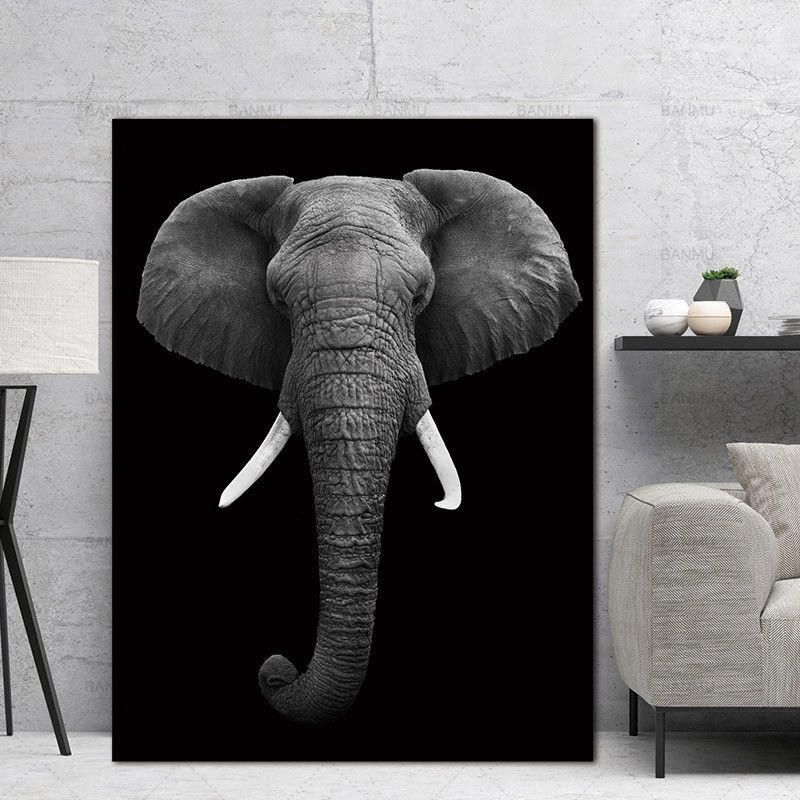 Wall Art Pictures Animal Canvas Painting Black And White Art Wall Poster Home Decor Print On Canvas Dec Elephant Wall Art Living Room Design Diy Elephant Decor