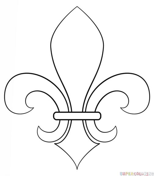 How to draw a fleur de lis step by step drawing tutorials for kids and beginners fleury de - Dessin fleur de lys ...