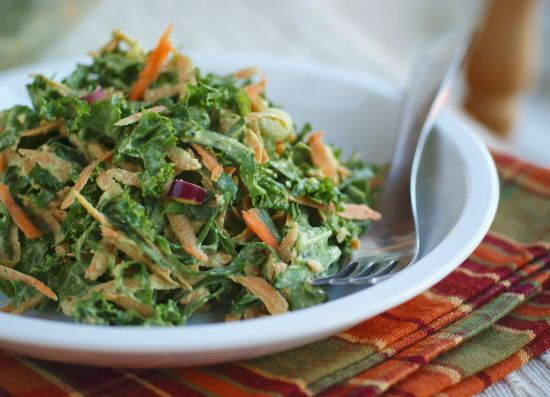 Raw Sweet Potato and Greens Slaw