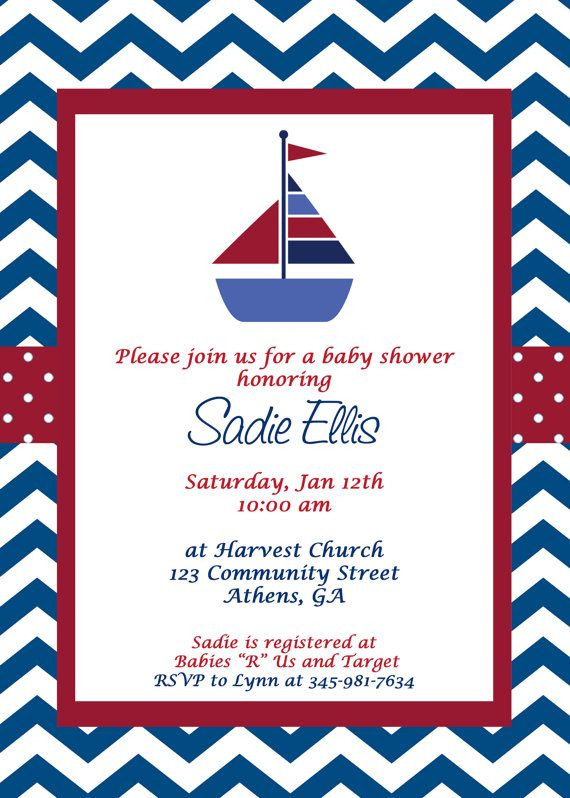 Ships Ahoy Sailboat Baby Shower - Sailboat Invite - Sailboat Baby ...