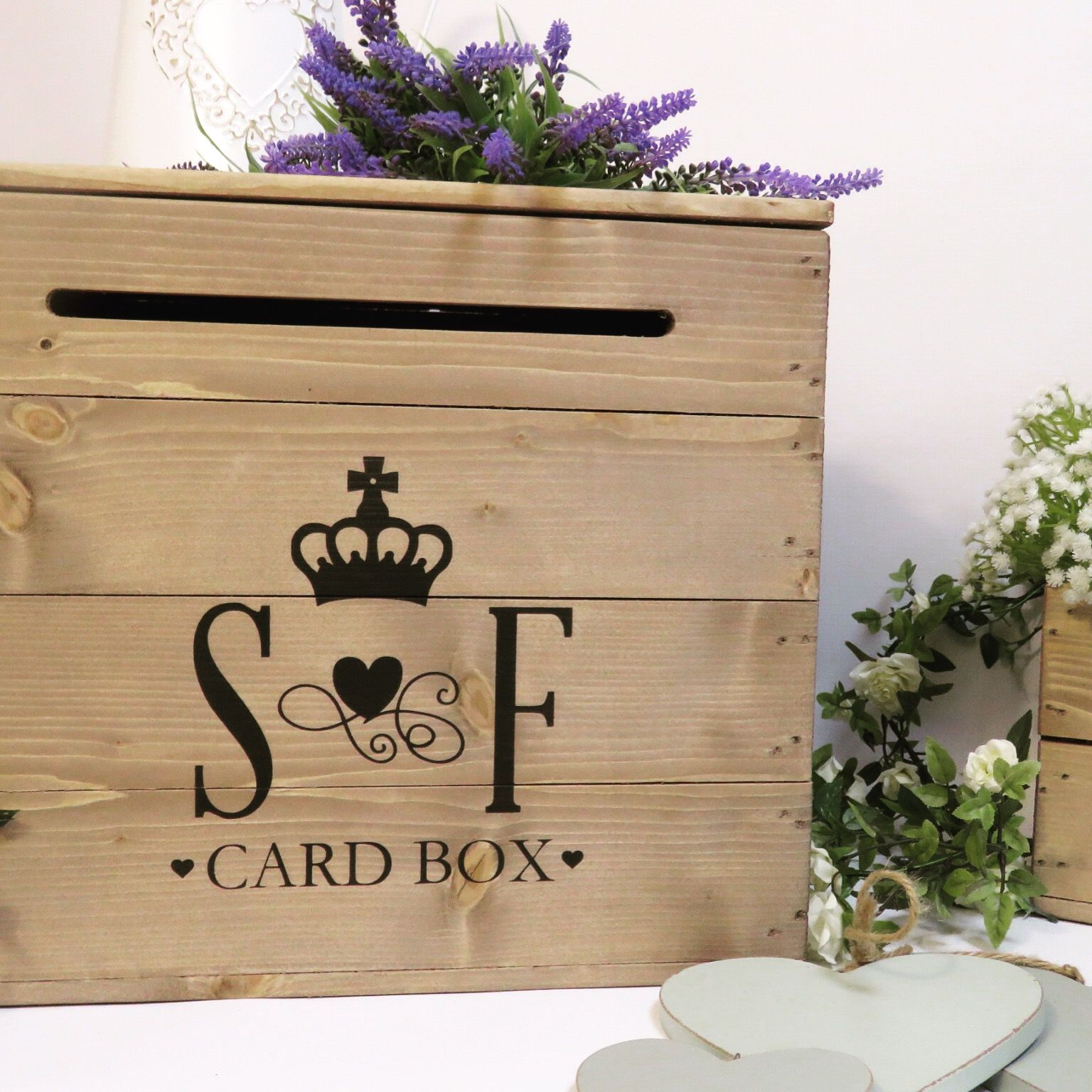 Personalised rustic wedding card box handmade in dorset and