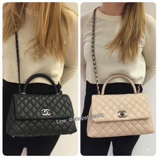 2b977b3b3723 Chanel Black and Beige Coco Handle Medium Bags