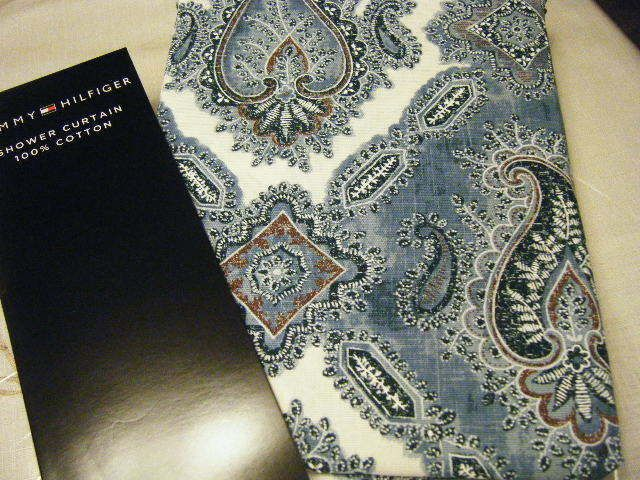 Tommy Hilfiger Paisley Medallion Shower Curtain Blue White Brown New