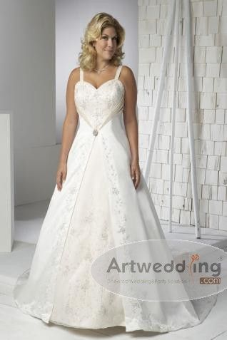Allover Embroidery Detailed Satin Princess Wedding Dress with Brooch and Split
