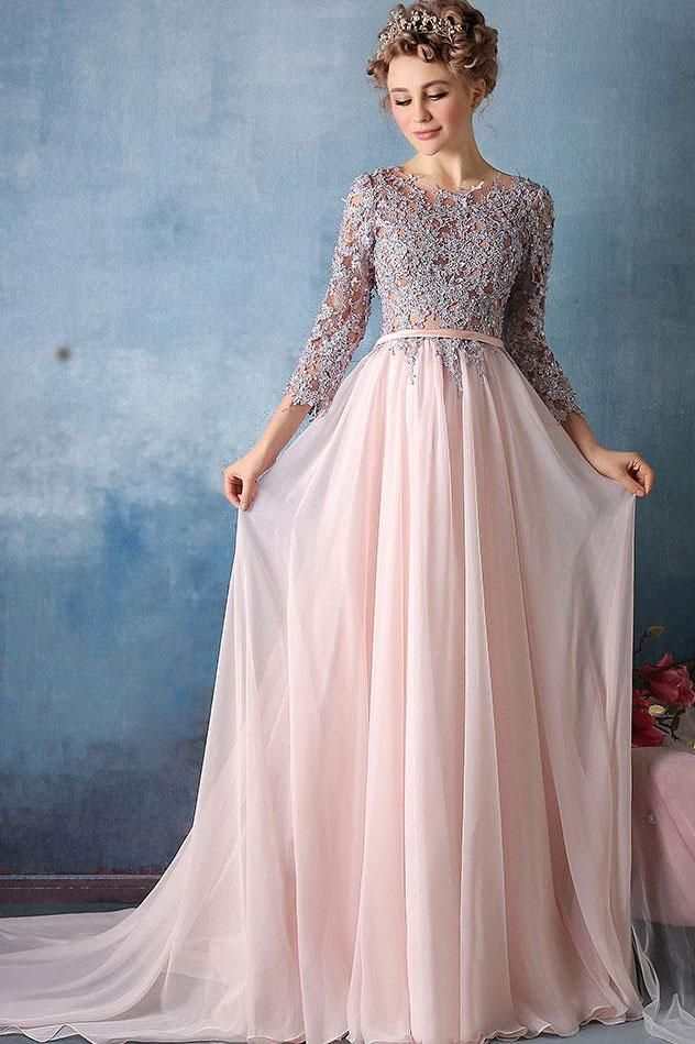 Scoop A-line Pink Chiffon with Silver Lace Appliqued Long 3/4 ...