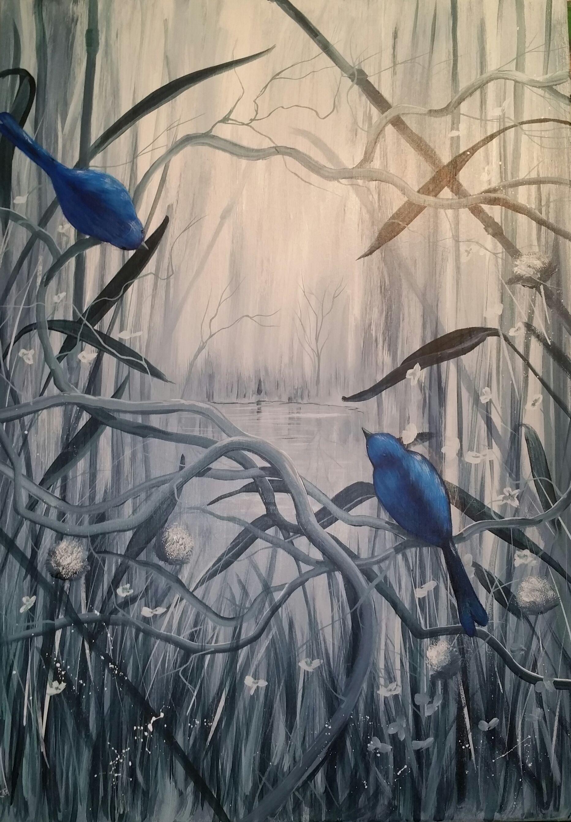 Acrylmalerei auf Leinwand, Primärfarbe Grau, Sekundärfarbe Blau ...