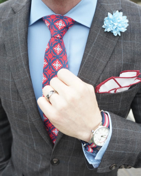 Mexican tile tie paired with a windowpane suit.