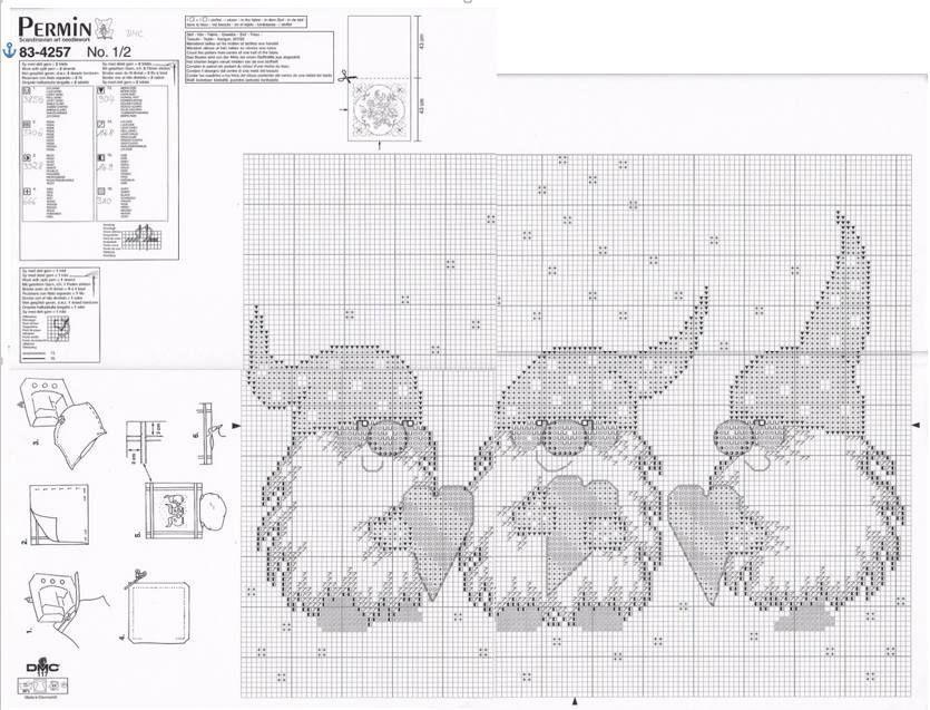 tomtar med hjärtan | Cross Stitch Patterns - Elves, Fairies & Gnomes ...
