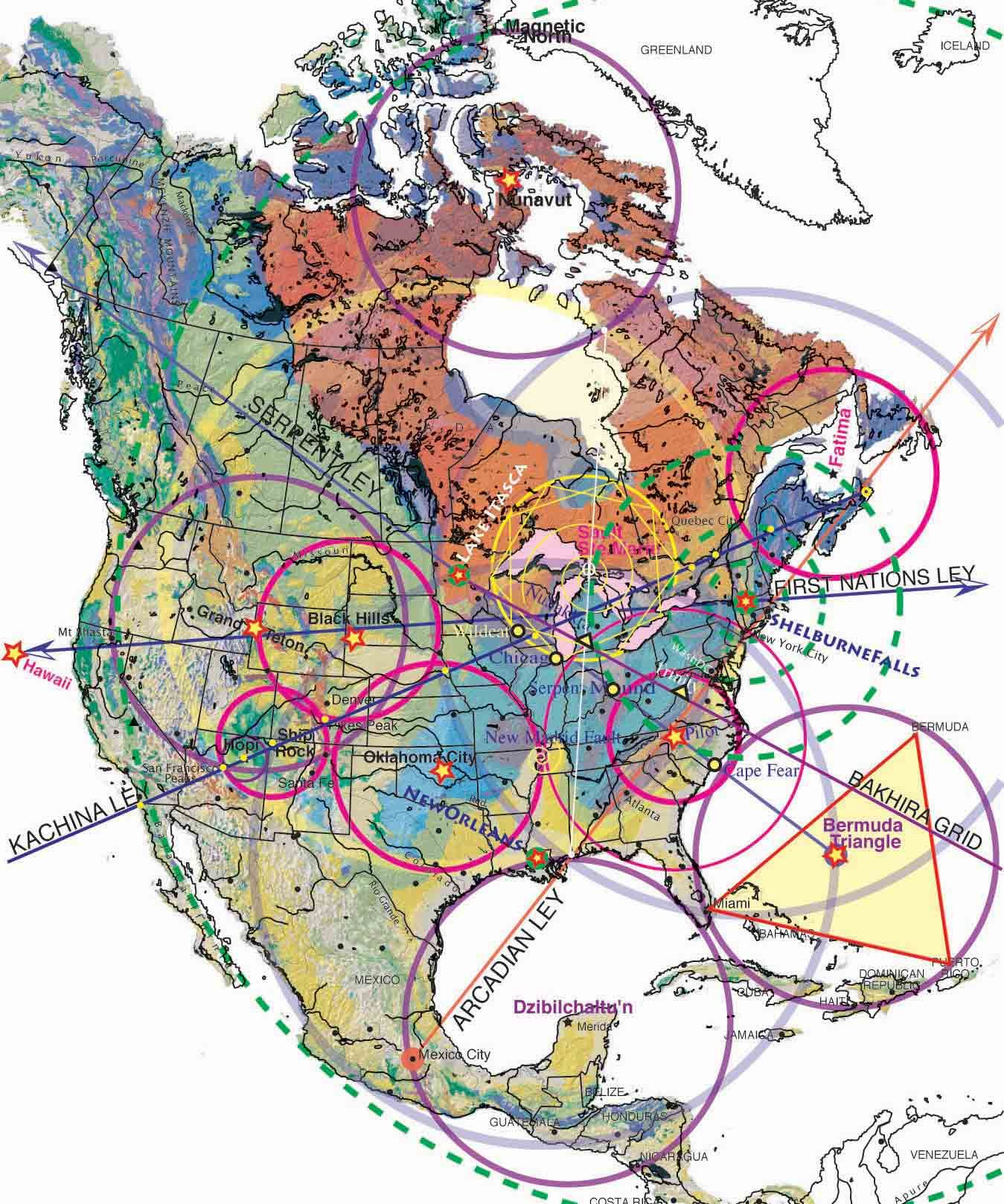 Magnetic Ley Lines in America Geology patterns North America