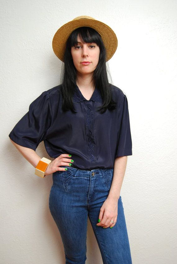 vintage 1990s / navy / silky / over sized / embroidered by YeYe, $18.00
