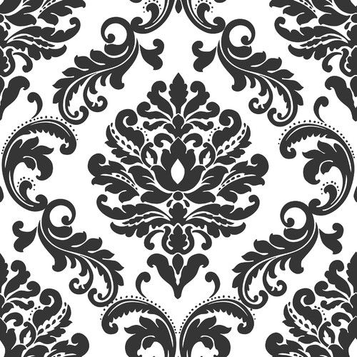 Found it at Wayfair - Ariel Black and White Damask Peel And Stick Wallpaper
