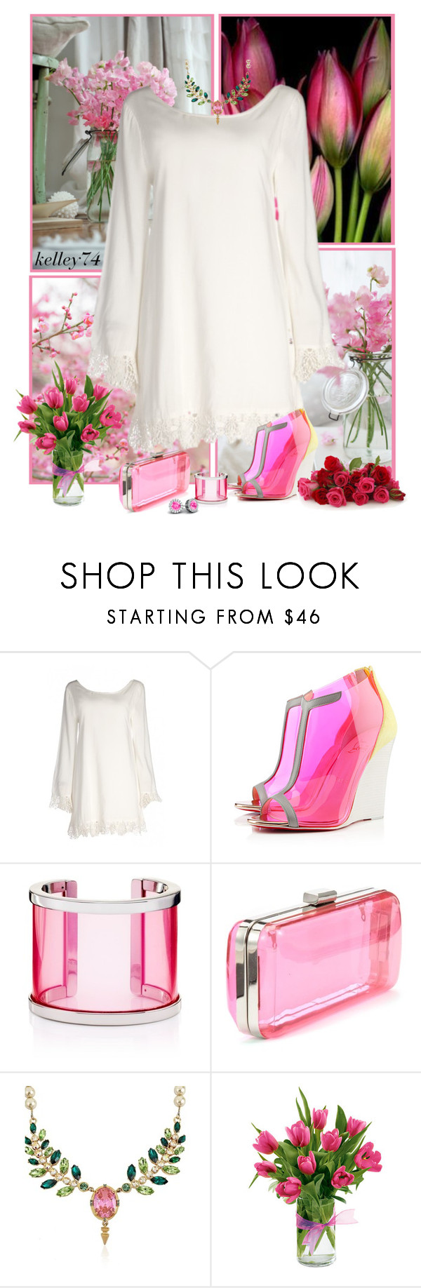 """""""Petal Pink"""" by kelley74 ❤ liked on Polyvore featuring Christian Louboutin, Juicy Couture and Mawi"""