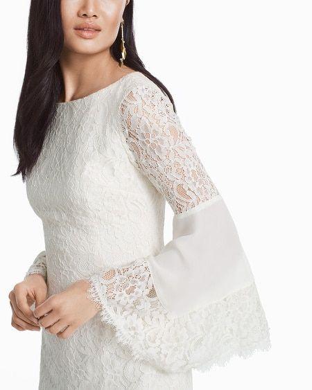 926b8a9d9a Women's White Lace Bell Sleeve Sheath Dress by White House Black Market