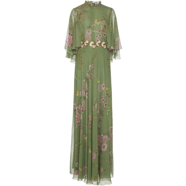 Giambattista Valli Rose Print Cape Gown (60.650 ARS) ❤ liked on Polyvore featuring dresses, gowns, multi, green gown, turtleneck gown, silk evening dresses, silk ball gown and silk turtleneck