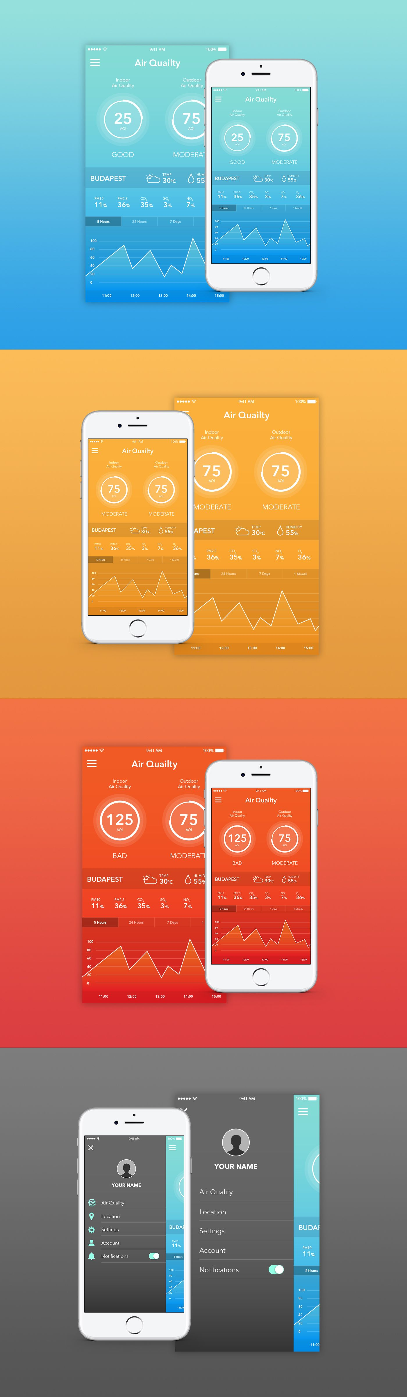 "다음 Behance 프로젝트 확인 ""Air quality mobile app"" https//www"