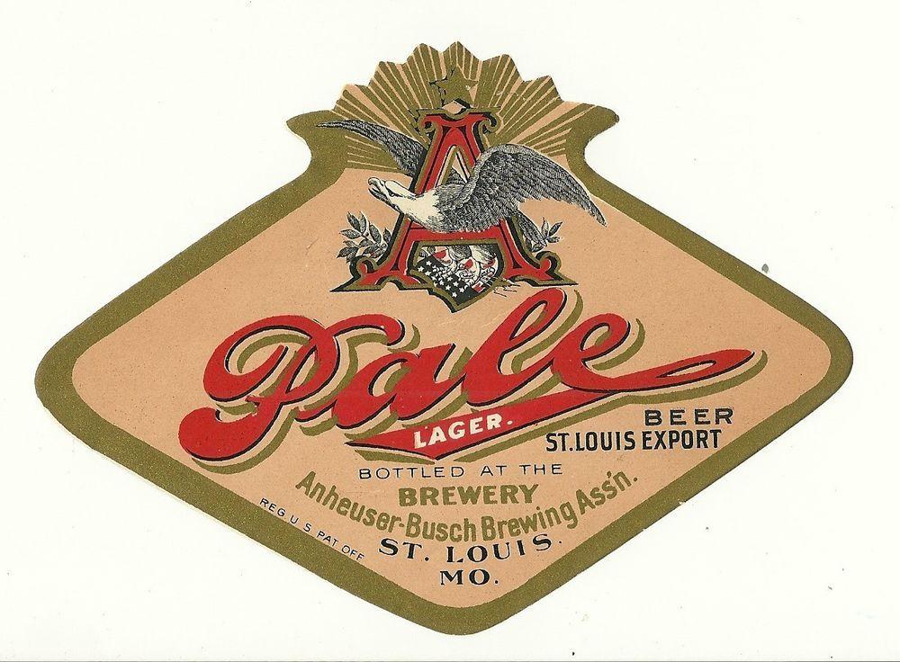 1890 anheuser busch brewing assn, st louis, missouri pale lager - beer label