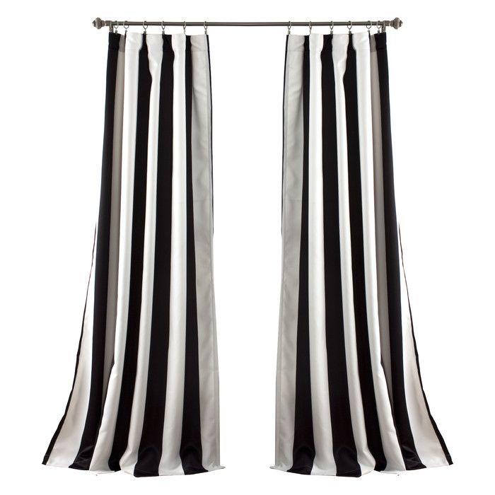 Meena Striped Room Darkening Thermal Rod Pocket Curtain Panels