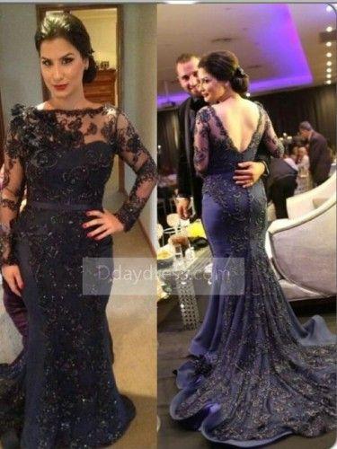 luxury plus size navy blue long sleeve trumpet mermaid prom