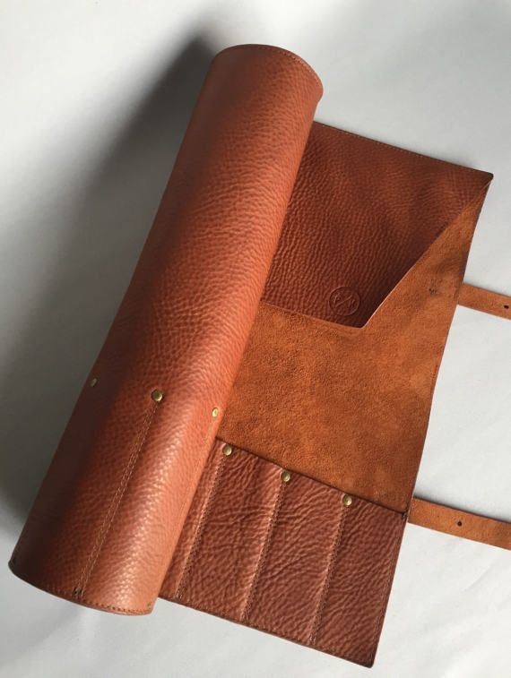 Premium Veg Tan Brown Leather Knife Roll Leather Knife Case Leather Knife Wrap Butchers Knife Roll Chefs Blade Leather Tool Roll Knife Roll Leather Tooling