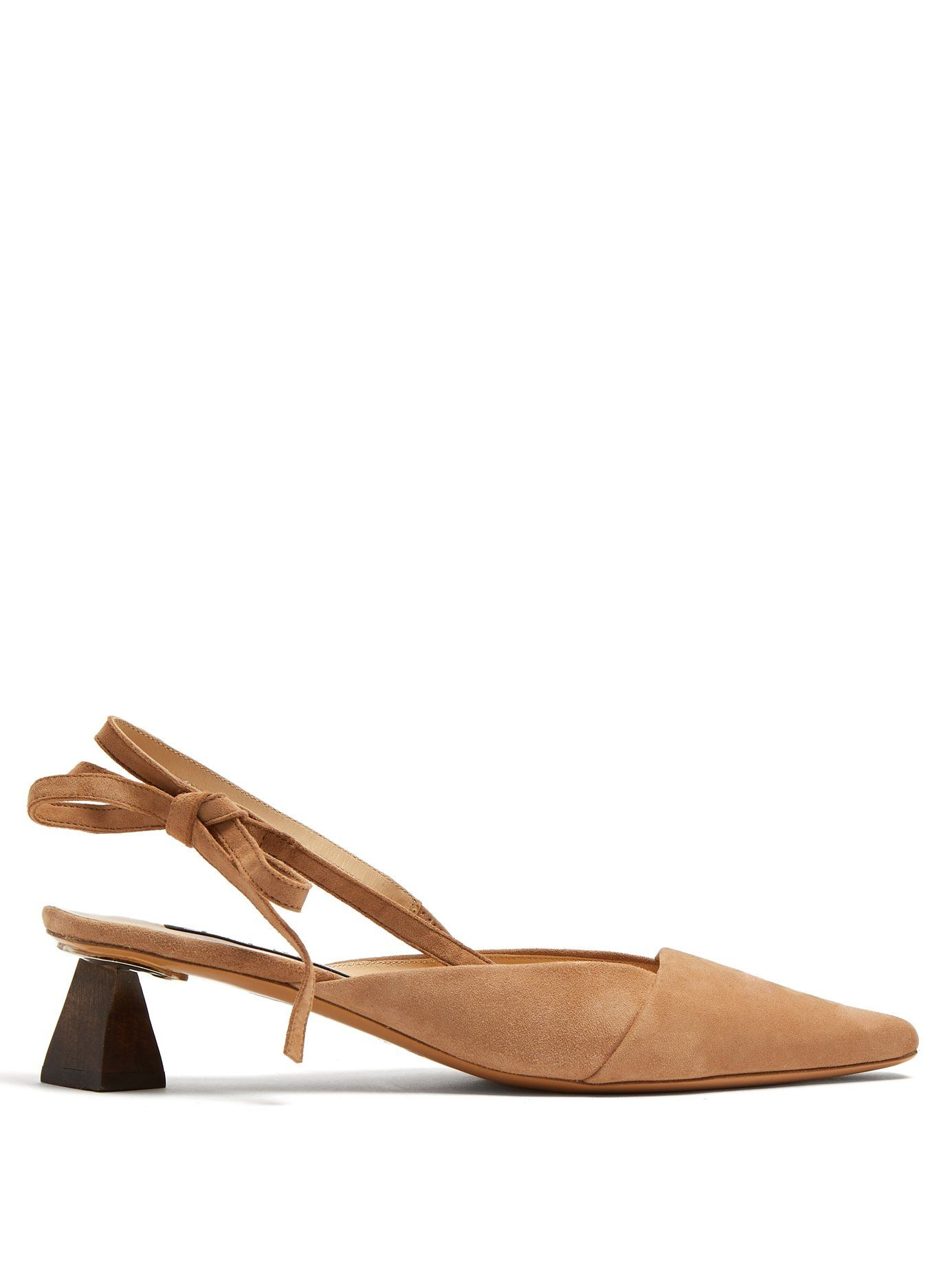 5ad689c6c3b Ornamental-heel suede slingback pumps