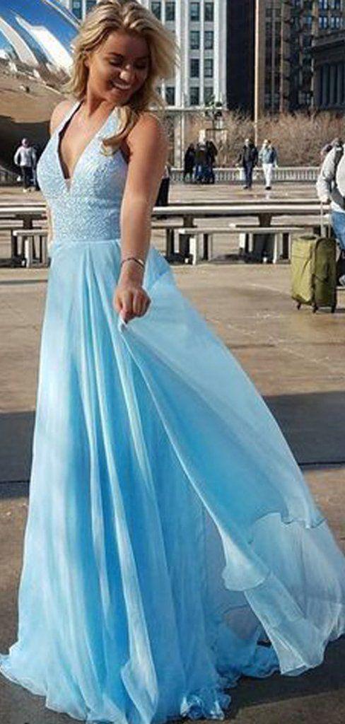 V-neck Blue Sequin Top Long A-line Chiffon Prom Dresses # ...