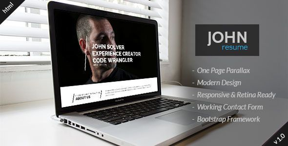 John  Responsive Resume Html Template Resume  Cv Download