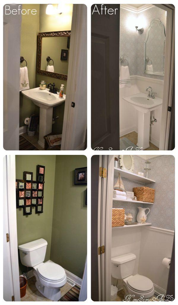 Half Bath Reveal Powder Room Tiny Powder Rooms Bathrooms