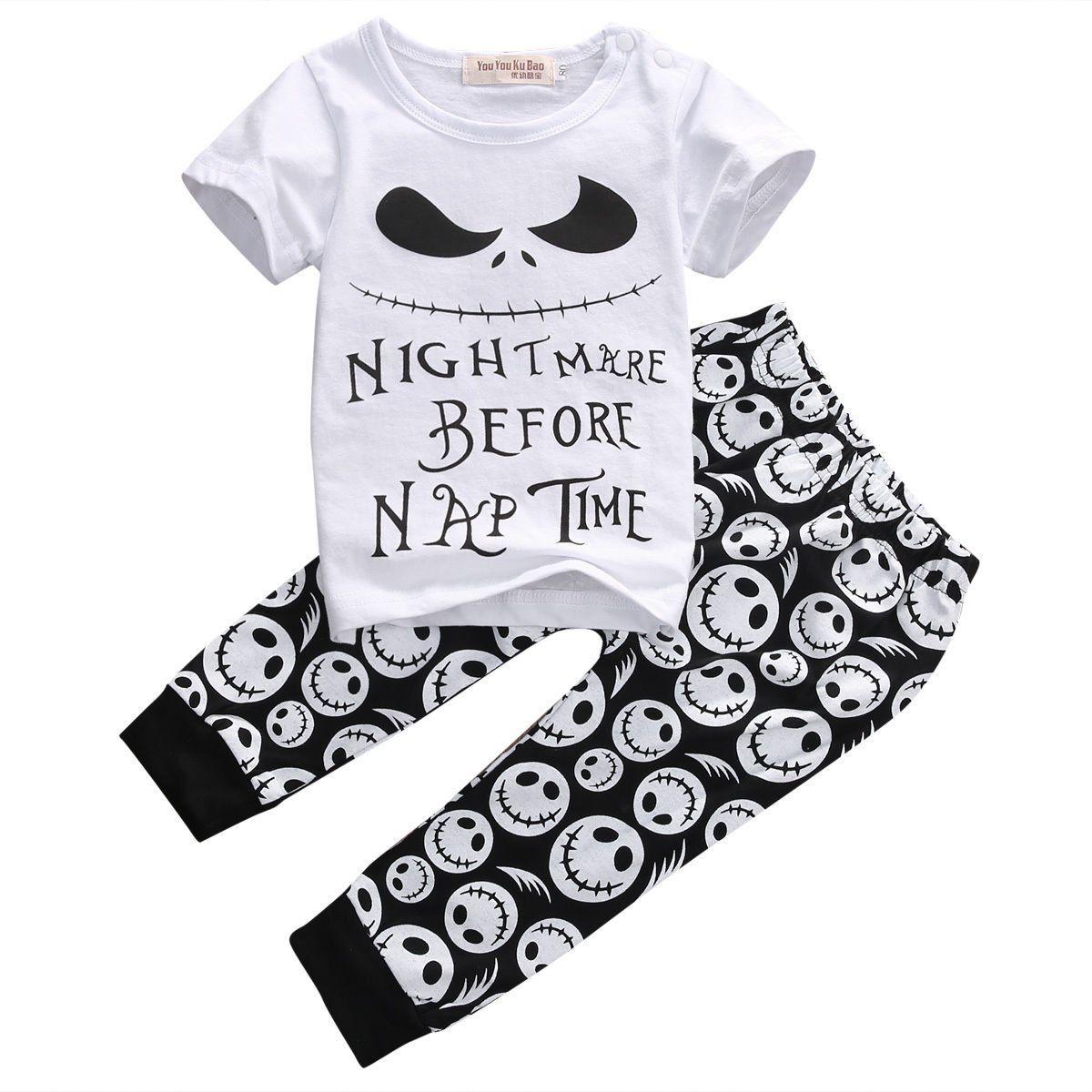New 2pcs Baby Boys Casual T Shirt Skull Pants Outfits
