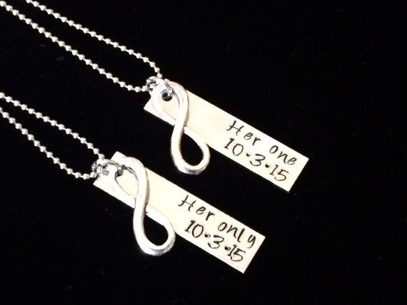 Her One His Only  / Her One Her Only / His One His Only Infinity or heart date Hand stamped Necklace set - couple set - anniversay wedding