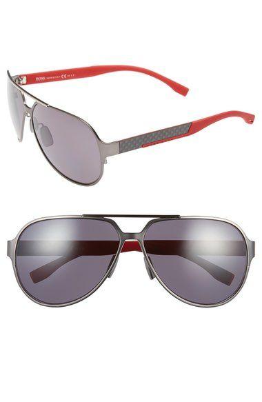 BOSS 63mm Polarized Aviator Sunglasses. #boss #