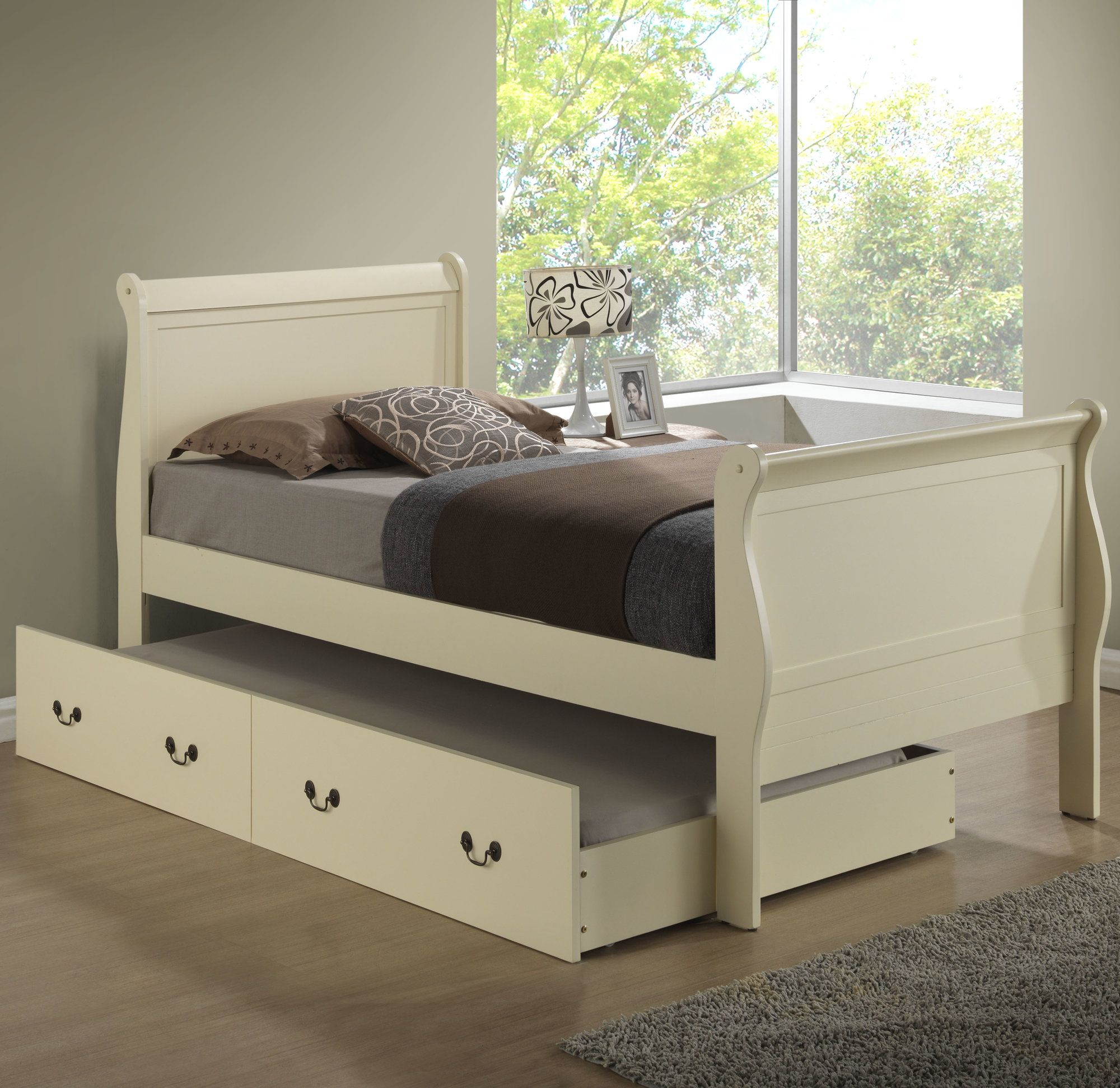Babcock Sleigh Bed with Trundle Low loft beds, Sleigh
