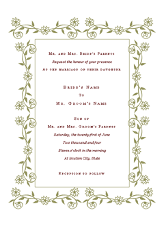 Wedding Invitation (Renaissance Design)  Microsoft Office Template  Microsoft Word Invitation Templates