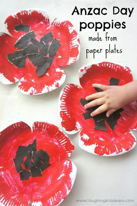 Anzac Day poppy craft made from paper plates - Laughing Kids Learn