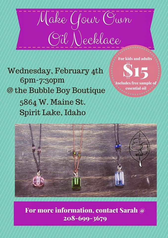 Bubble Boy Boutique: Make your Own Oil Necklace #spiritlake #VisitNorthIdaho for some real fun