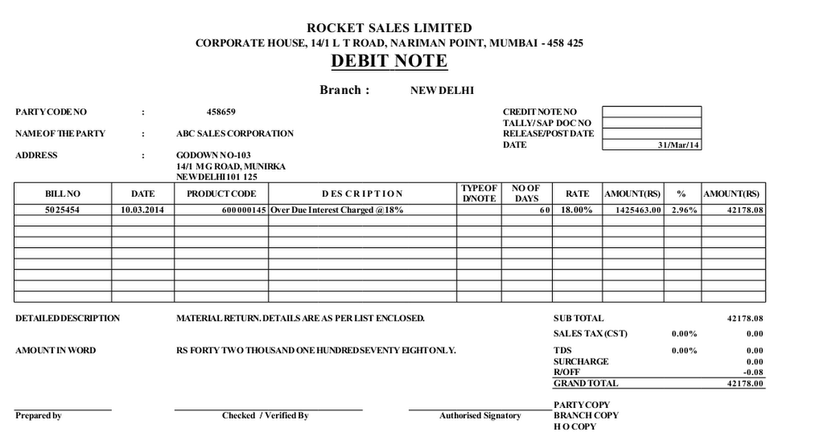 How Debit Note Template Excel Format Helps You Having A ...