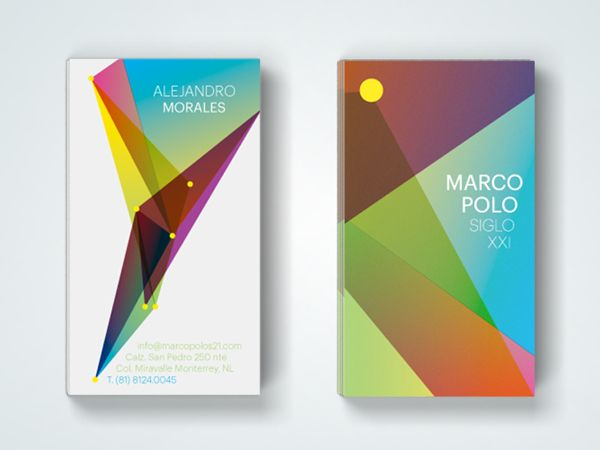 Beautiful Branding Example, Using Gradients, Geometric Shapes - name card example