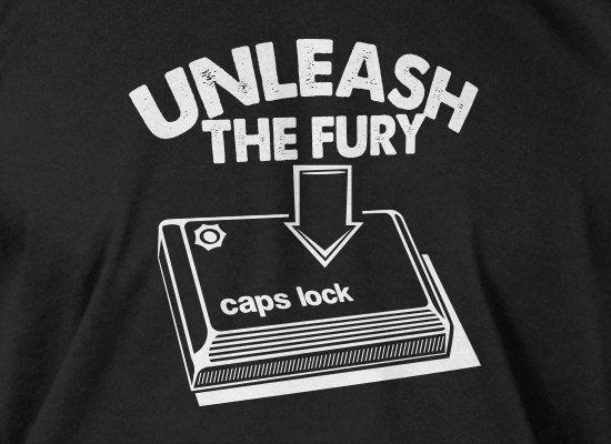 Funny Computer Geek TShirt Unleash The Fury Caps by IceCreamTees, $14.99