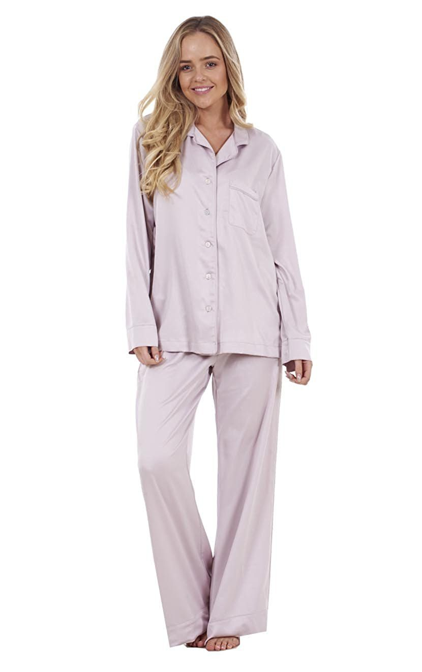 d419d11ebf Ladies Plain Satin Pyjamas Long Sleeve Nightwear Silk PJ S Full Length   Amazon.co.uk  Clothing