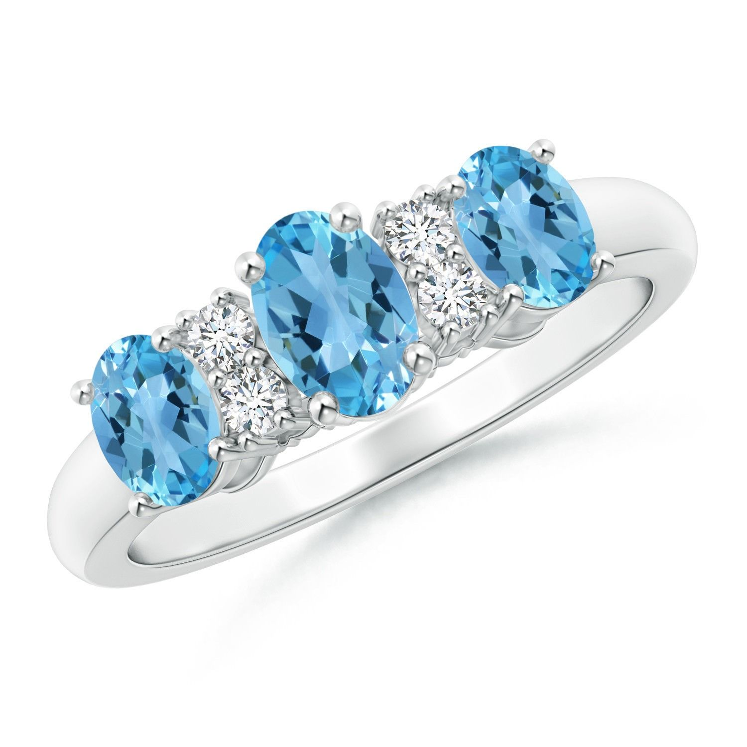 Angara Oval Swiss Blue Topaz Three Stone Ring with Diamonds SX9Qht
