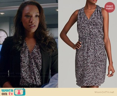 Iris's purple leopard print wrap dress on The Flash.  Outfit Details: http://wornontv.net/38791/ #TheFlash