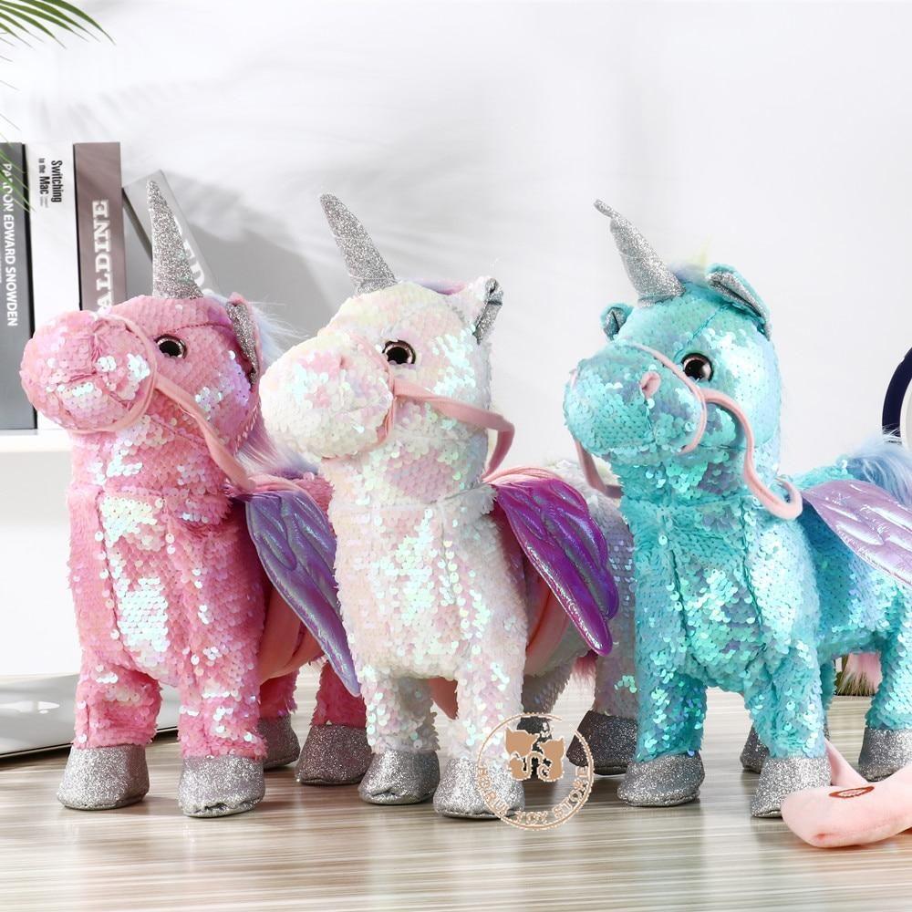 Sequin Magical Walking Singing Unicorn 3 Colors Pet Toys Unicorn Plush Unicorn Toys [ 1000 x 1000 Pixel ]
