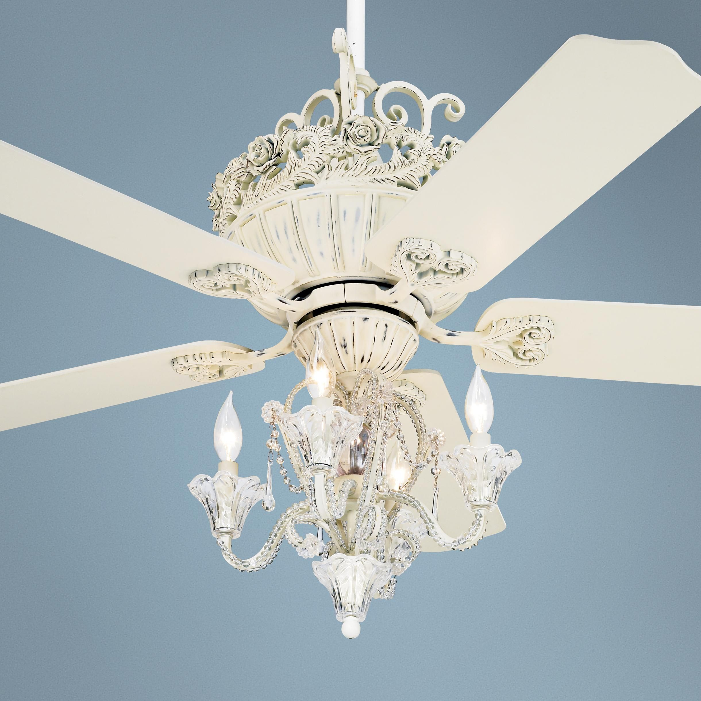 52 Casa Chic Antique White Ceiling Fan With 4 Light Kit White