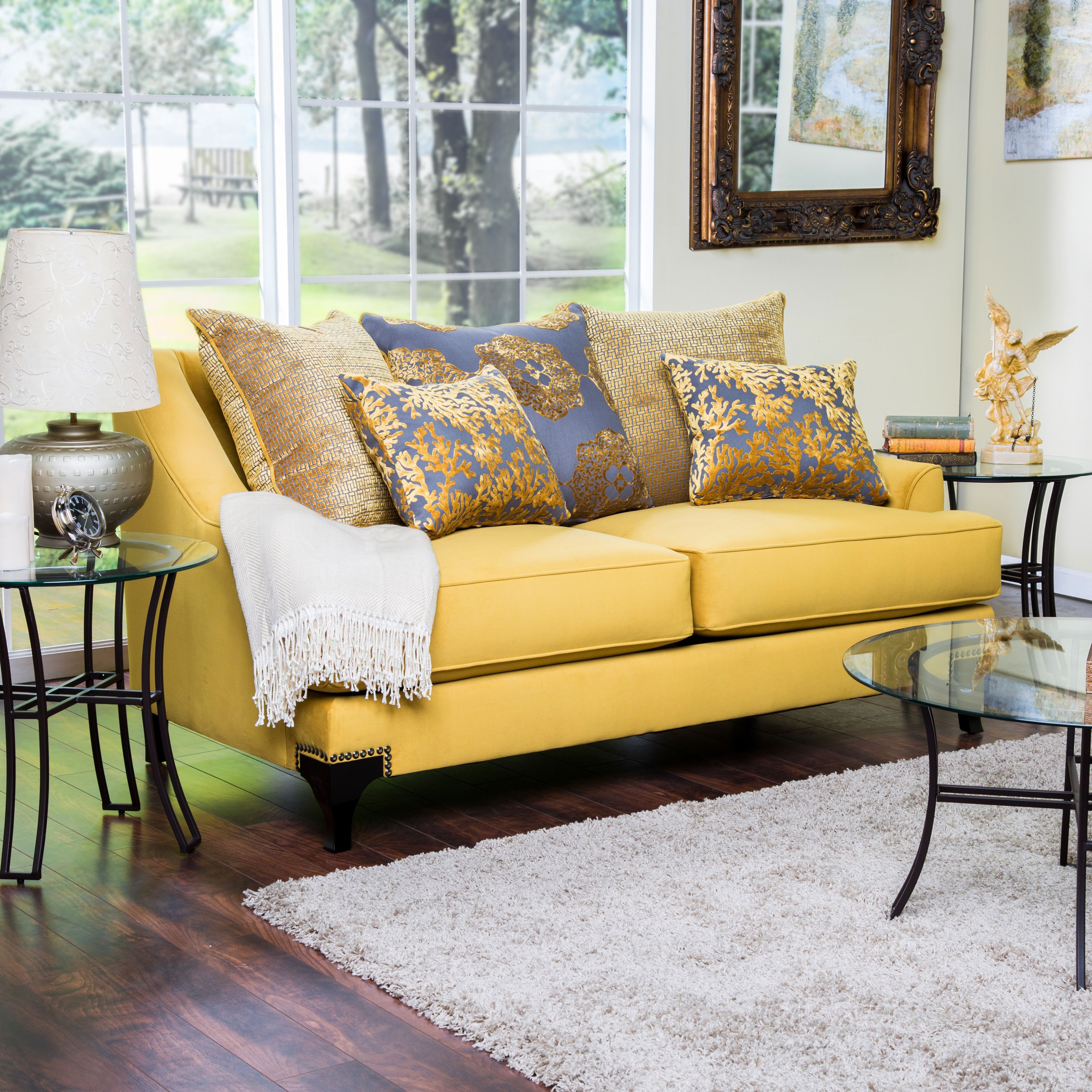 Astonishing Furniture Of America Visconti Premium Fabric Loveseat Gold Bralicious Painted Fabric Chair Ideas Braliciousco