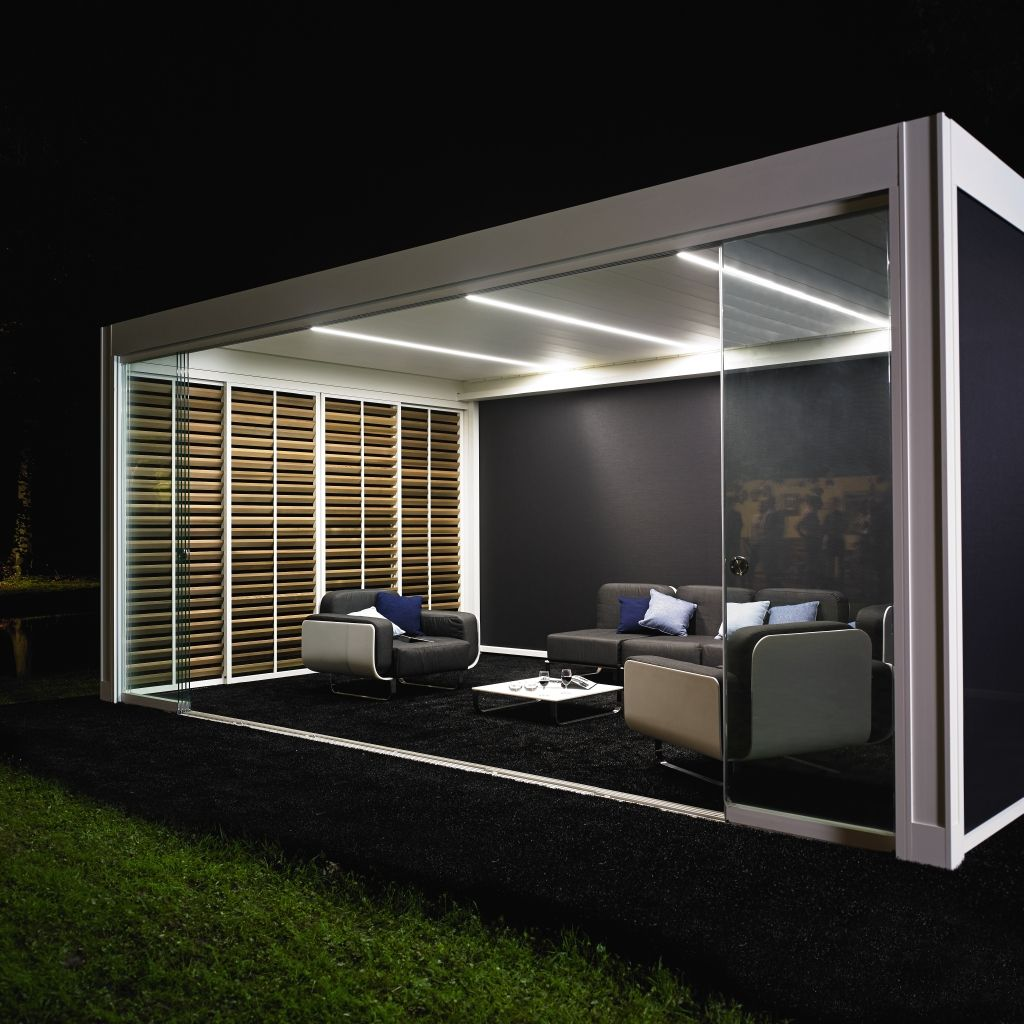 motorized pergola with adjustable louvers with built-in lights