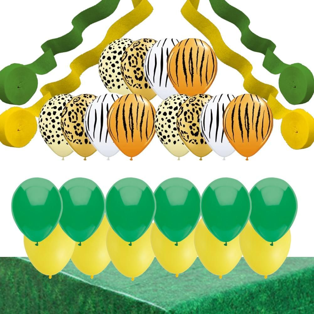 Jungle party decorations animal print balloons streamers for Animal print party decoration ideas