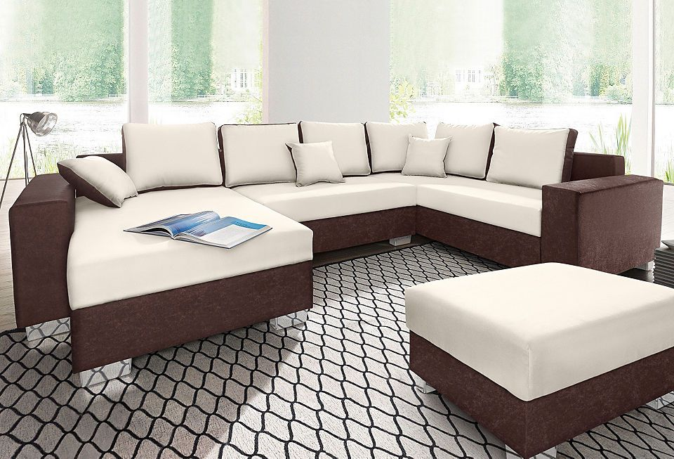 RAUMID Wohnlandschaft, wahlweise mit Bettfunktion, Tisch, RGB - beleuchtung für wohnzimmer